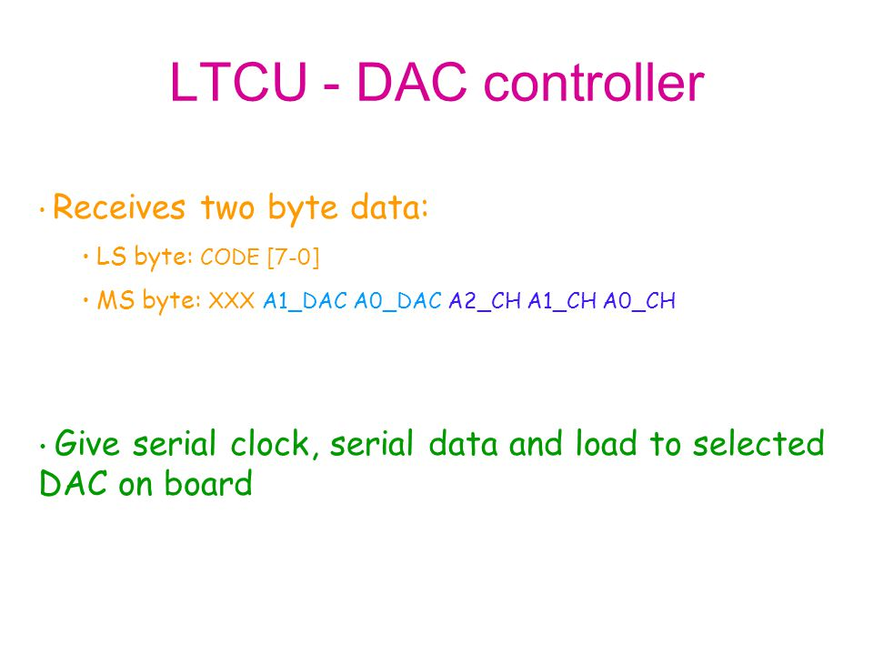 LTCU - DAC controller Receives two byte data: LS byte: CODE [7-0] MS byte: XXX A1_DAC A0_DAC A2_CH A1_CH A0_CH.